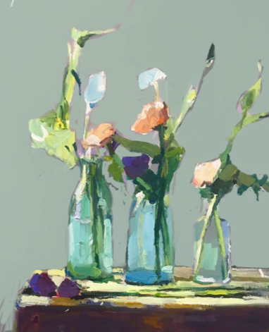 """""""Wildflowers and Three Vases"""", 35X45cm, oil on board.  #StillLife #flowerscapes #artoftheday #abstractexpressionist #artgallery pic.twitter.com/QHoXSZmFyP"""