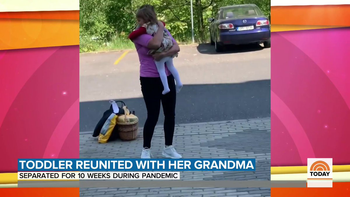 Watch this 2-year-old girl hug her grandma for the first time in 10 weeks 🤗