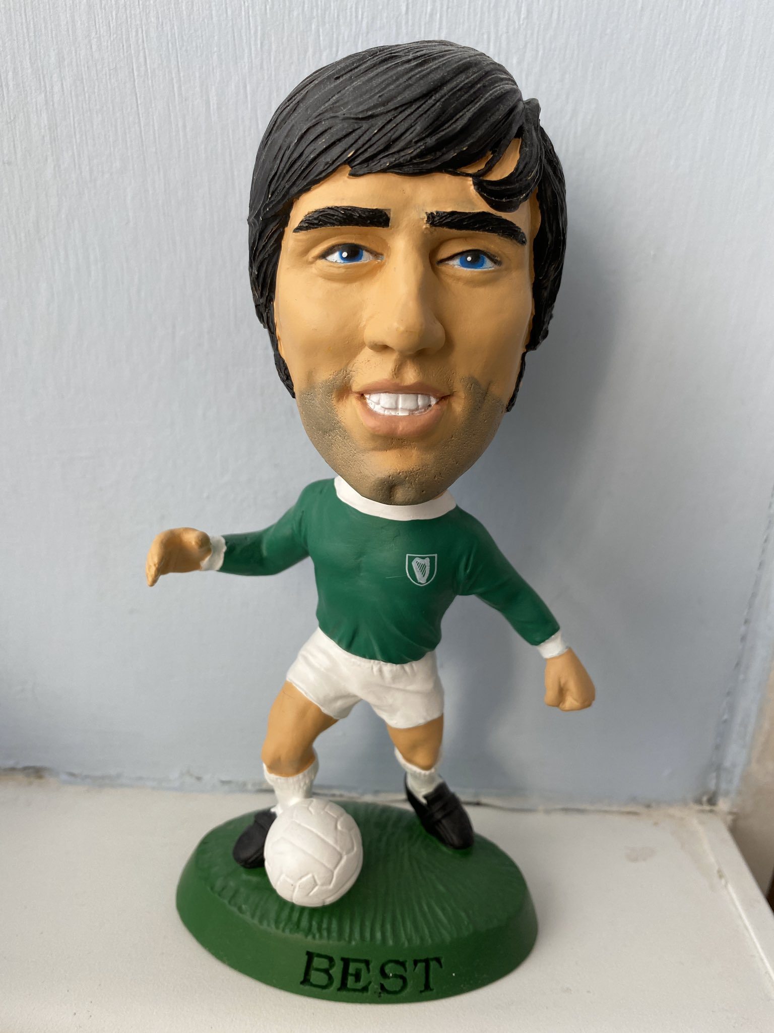 "Happy birthday to the Belfast boy.  \""Pele good, Maradona better, George Best\"""