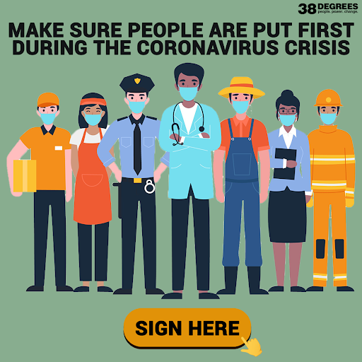 We think @borisjohnson should always put people first, ahead of all other considerations during the #coronavirus crisis. Sign the open letter now if you agree: 38d.gs/PeopleAsPriori… 📝