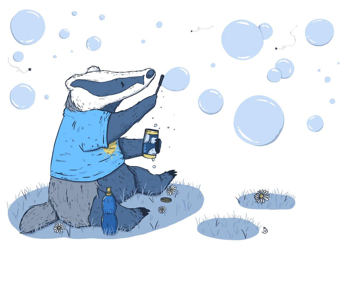 Bubbles, bubbles and more bubbles  #colour_collective #britannyblue  #Illustrator #illustration #badger #bubbles #procreate #drawing #digitalart #blue #animal pic.twitter.com/LtcBO2nyYf
