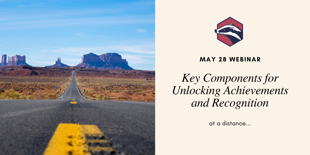 What are the key components for unlocking achievement and recognizing learning at a distance? Join us on May 28th for a free webinar and walk away with a plan zcu.io/KGTT #digitalbadges #distancelearning #ContinuingEducation #professionaldev #adultlearning