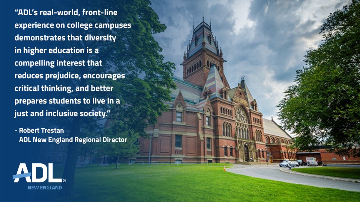 ADL's brief explains why #diversity is a compelling interest & why there is simply no comparison between Harvard's admissions practices today & the #antisemitic polices in place during 1920s/30s, which were explicitly designed to exclude Jews. https://t.co/LjtwQ6IczC https://t.co/Et35yERtJa