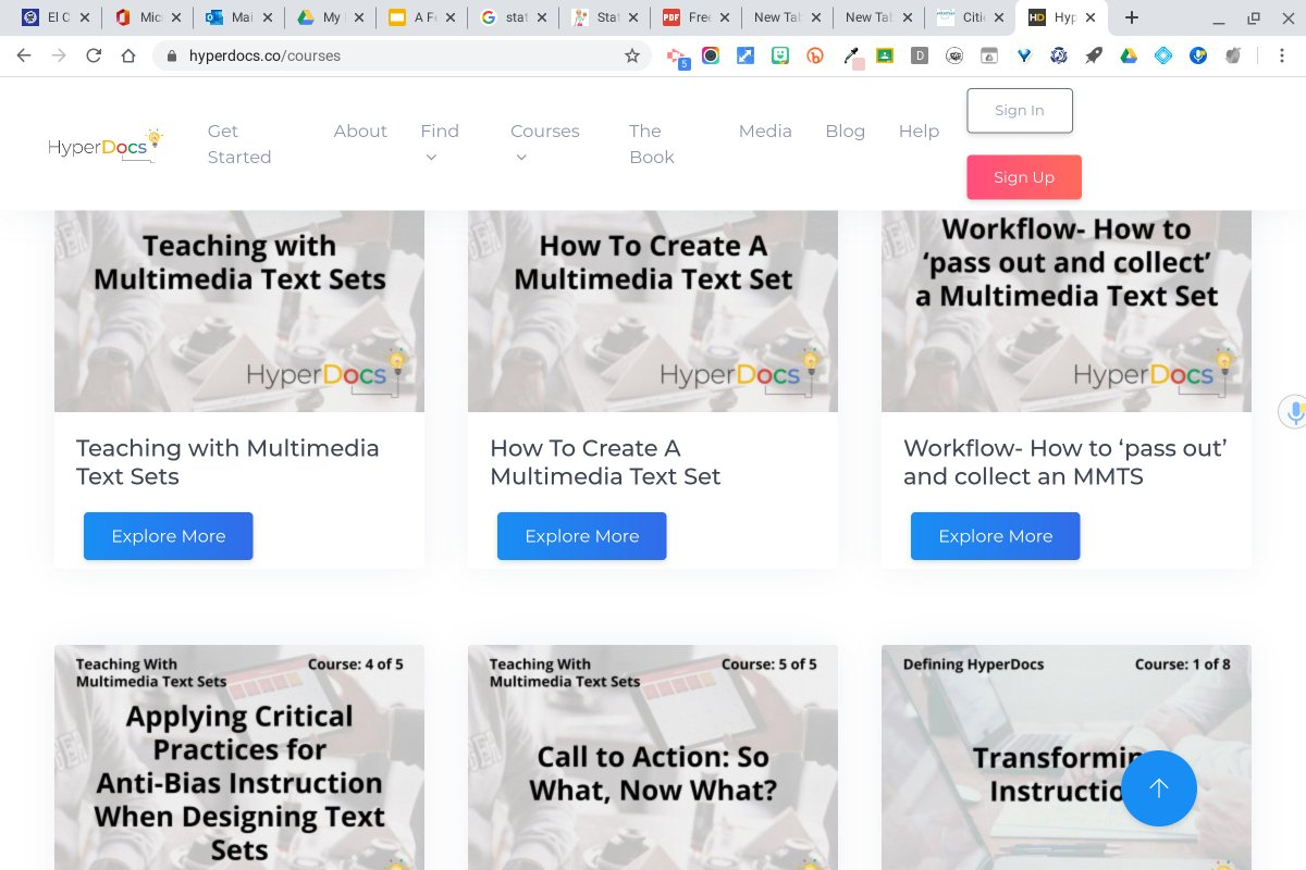 Wow, Im in ❤️ with the new #Hyperdocs website!! Look at all these fantastic courses available. Youve out done yourselves, @dhotler, @lhighfill, @kellyihilton, and @SARAHLANDIS. Excited to dig in and share with others!!! #DistanceLearning ❤️ #WeAreCUE