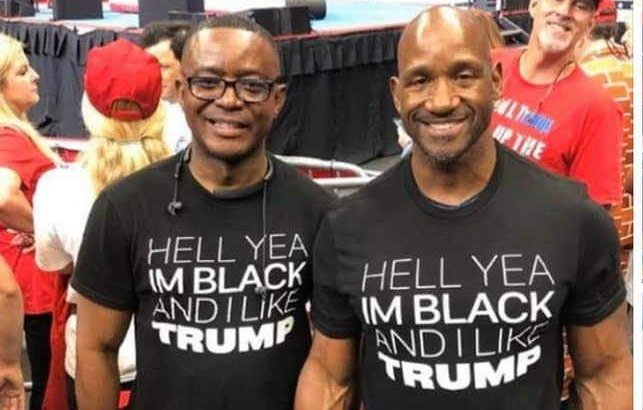 "Saying #YouAintBlack unless you vote Democrat epitomizes the liberal mindset.  There's a ""Black Awakening"" going on and these gentlemen's shirts say it all. @realDonaldTrump is the TRUE advocate of African Americans. #JoeBidenIsARacist #MAGA #KAG #FoxNews #MemorialDayWeekend<br>http://pic.twitter.com/fhhWi09RLs"