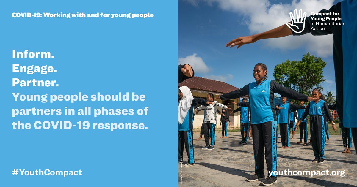Tackling stigma Fighting misinformation Debunking myths Supporting communities Young ppl are already taking action on #COVID19. We need to ensure they are included in decision making! Learn more in the new guidance from the Humanitarian 👉 bit.ly/3bZc5ON #YouthCompact