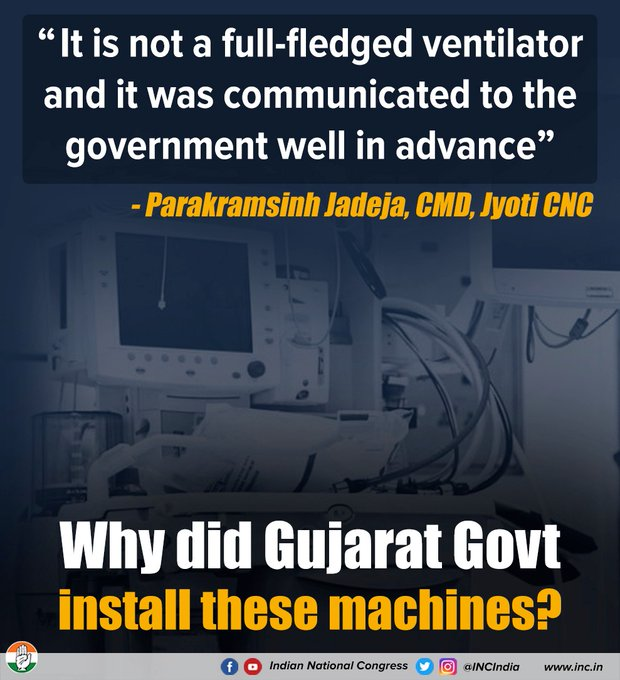"""""""It is not a full-fledged ventilator and it was communicated to the government well in advance"""" - Parakramsinh Jadeja, CMD, Jyoti CNC  Why did Gujarat Govt install these machines?  #BJPVentilatorScam https://t.co/wHPcnyHbg9"""