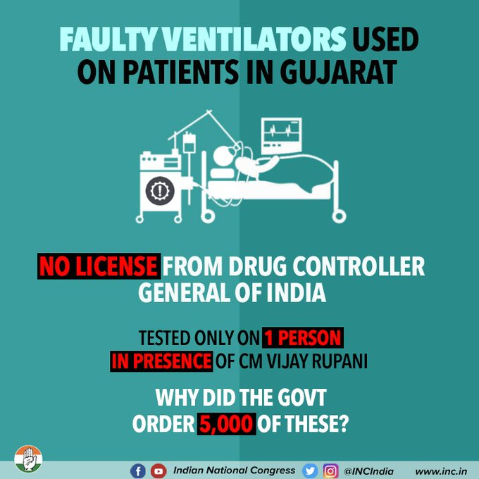 Faulty ventilators used on patients in Gujarat  No license from drug controller general of India  Tested only on 1 person in presence of CM Vijay Rupani  Why did the govt orders 5,000 of these?  #BJPVentilatorScam https://t.co/7tKt0rhF23