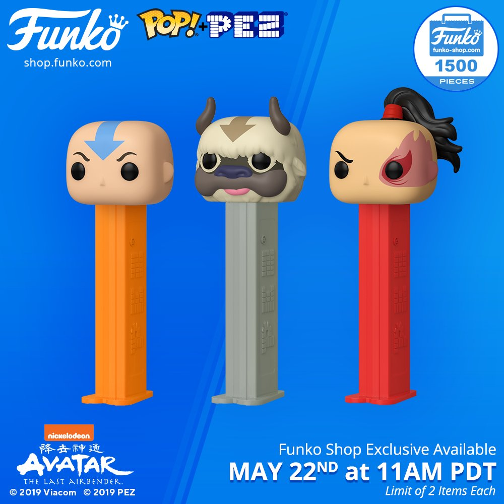 Funko Shop Items: Pop! PEZ: Avatar - The Last Airbender: Aang, Appa, and Zuko Live at 11AM PDT. Limit of 2 items each. bit.ly/2PJU1jr @Nickelodeon @PEZCandyUSA #nickelodeon #avatarthelastairbender #funko #pop #funkopop #pez #funkopoppez