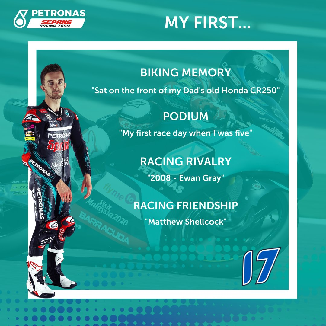 It's now John's turn to share his biking firsts!  To read more about how his Dad got him hooked on bikes, his first races in Scotland & meeting his biking hero head over to our website: https://t.co/RoNMr4zMOh  #MotoGP | #Moto3 | #PETRONASmotorsports | #SepangRacingTeam | #JM17 | https://t.co/2YAs64oyEs