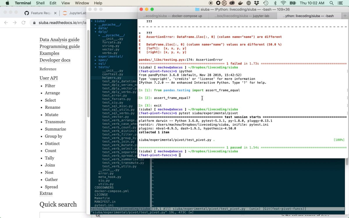 New screencast: adding a function and tests to siuba I walk through working on #python packages, and unit tests with pytest. In this case, I stub out a pivot_longer function along w/ some of the unit tests from the library tidyr! youtu.be/N7Sm4qdm_rs #rstats