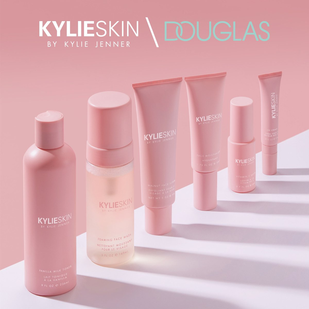 Kylie Skin is officially available today in Europe at Douglas! Shop online now! 💕 The best way to celebrate the one year anniversary of @KylieSkin! 🥰 #KylieXDouglas