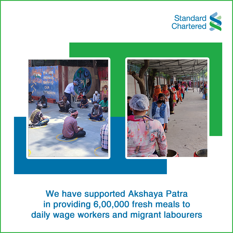 We have pledged our support to Akshaya Patra Foundation in providing 6,00,000 nutritious meals to daily wage workers & migrant labourers in some remote places. Because at #StandardChartered we believe in being #HereForGood and #HereWithYou. To know more: https://bit.ly/36nkYRbpic.twitter.com/uVo5gAPoNI