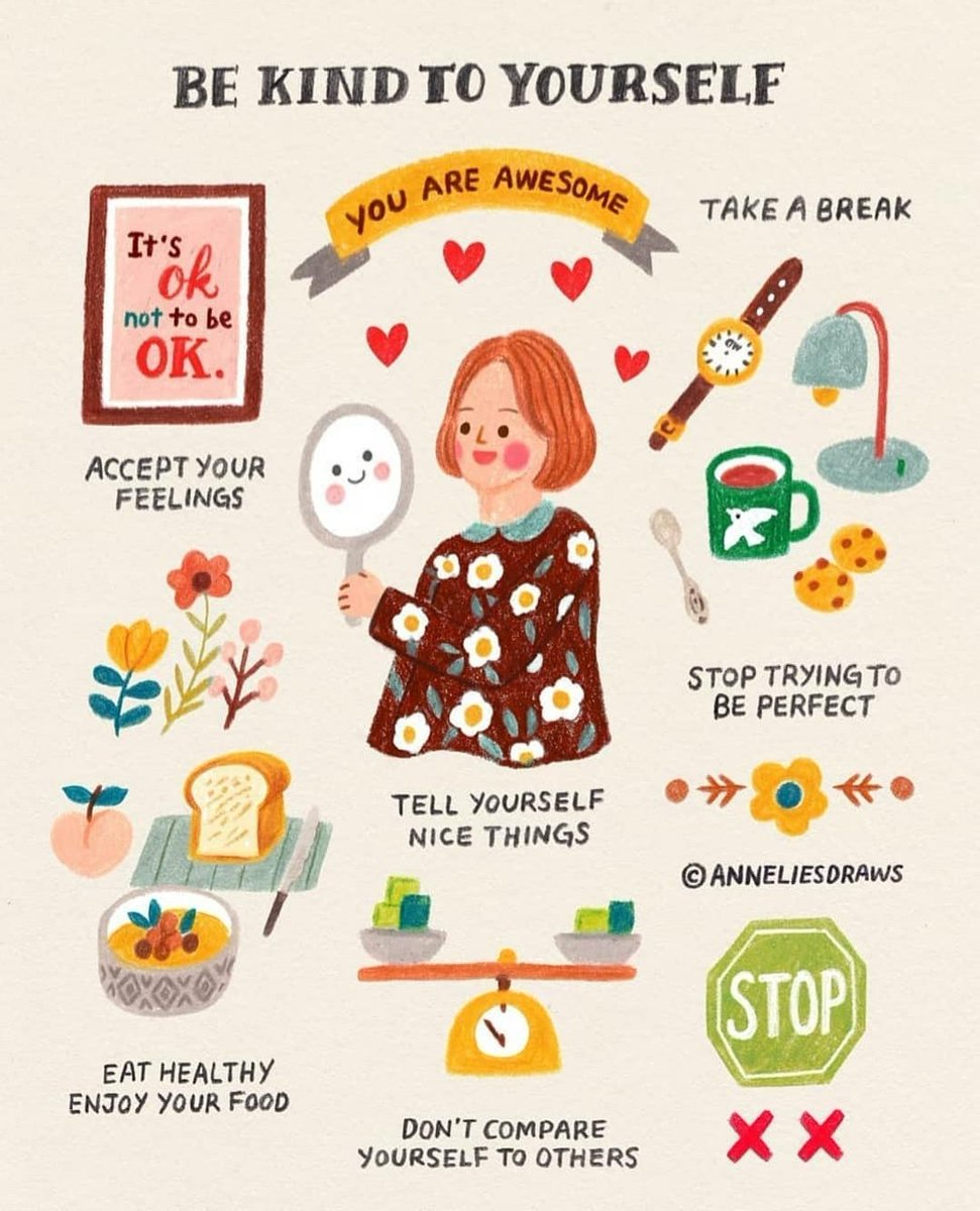 A little helpful guide to being kind to yourself credit to the artist on the link #MentalHealthAwareness #KindnessMatters instagram.com/anneliesdraws?…