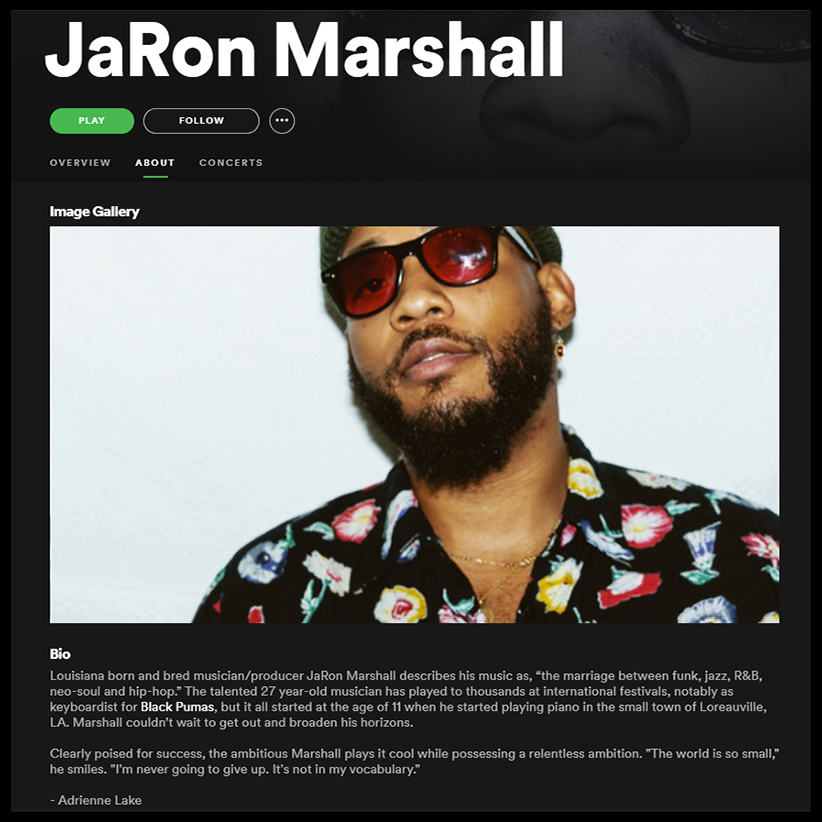 Both fantastic and flattering to find your work associated with such talented musicians... @BlackPumasMusic's pianist JaRon Marshall, @jro_marshall.  #jaronmarshall #blackpumas #spotify #musician #pianist https://t.co/RhVSQKl2U7