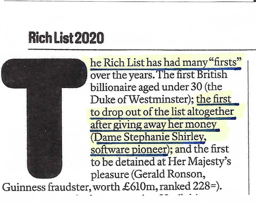 I always say I was the First Woman this and the First Woman that.... I am over the moon to see I was the First to give my money away and drop out of the @thesundaytimes #UK #richlist.