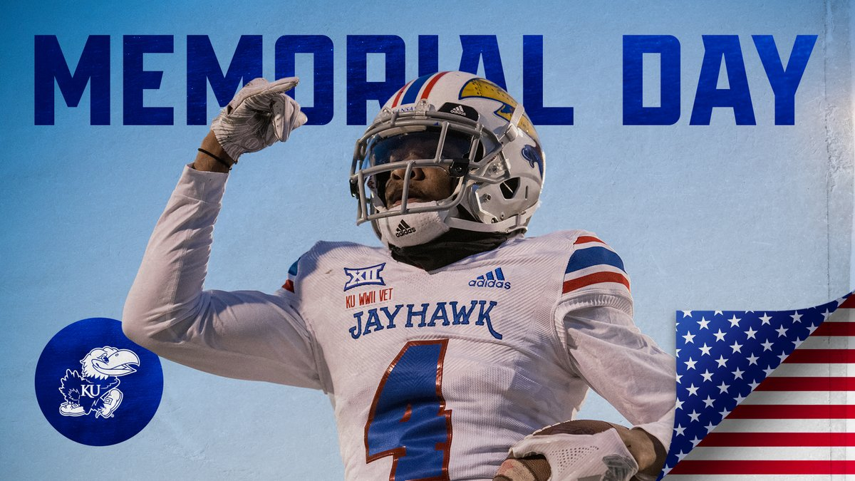 Honoring all the brave men and women who paid the ultimate sacrifice for our country 🇺🇸 Happy Memorial Day #KUfball