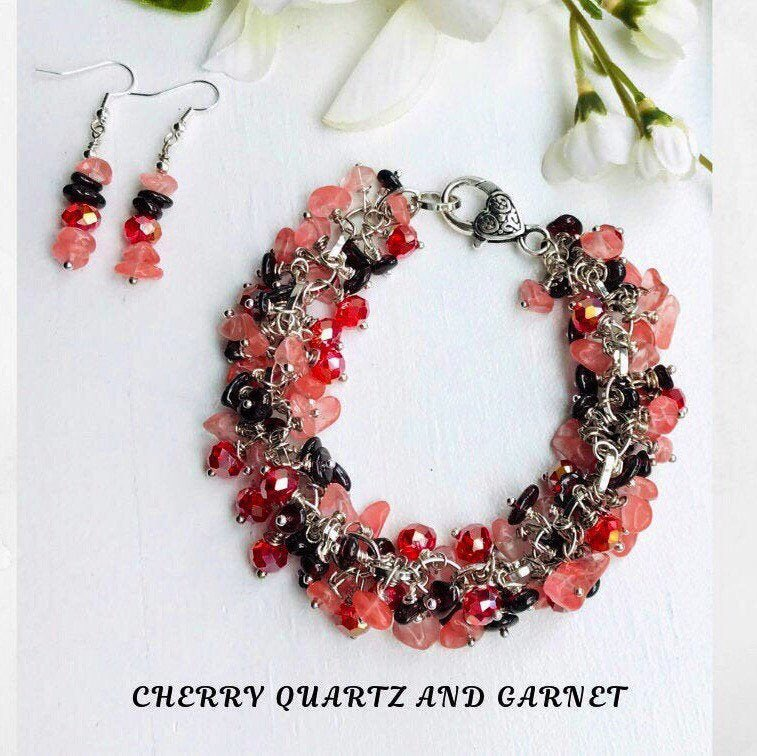 Excited to share this item from my #etsy shop: Cherry Quartz and Garnet gemstone jewelry set for women, gift for her, gemstone cluster bracelet, January birthstone #garnet #cherryquartz #jewelrygifts #gemstonejewelry #artisanjewelry #giftforher