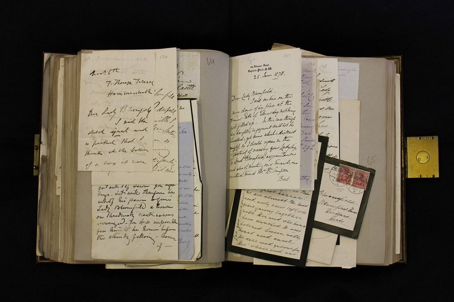 B is for Baroness Bloomfield #ArchiveZ This album of over 400 letters & autographs was collected by Georgiana, Baroness Bloomfield, lady in waiting to Queen Victoria. It is crammed with letters from authors, scientists, musicians, royalty, and other gems. 😍😍