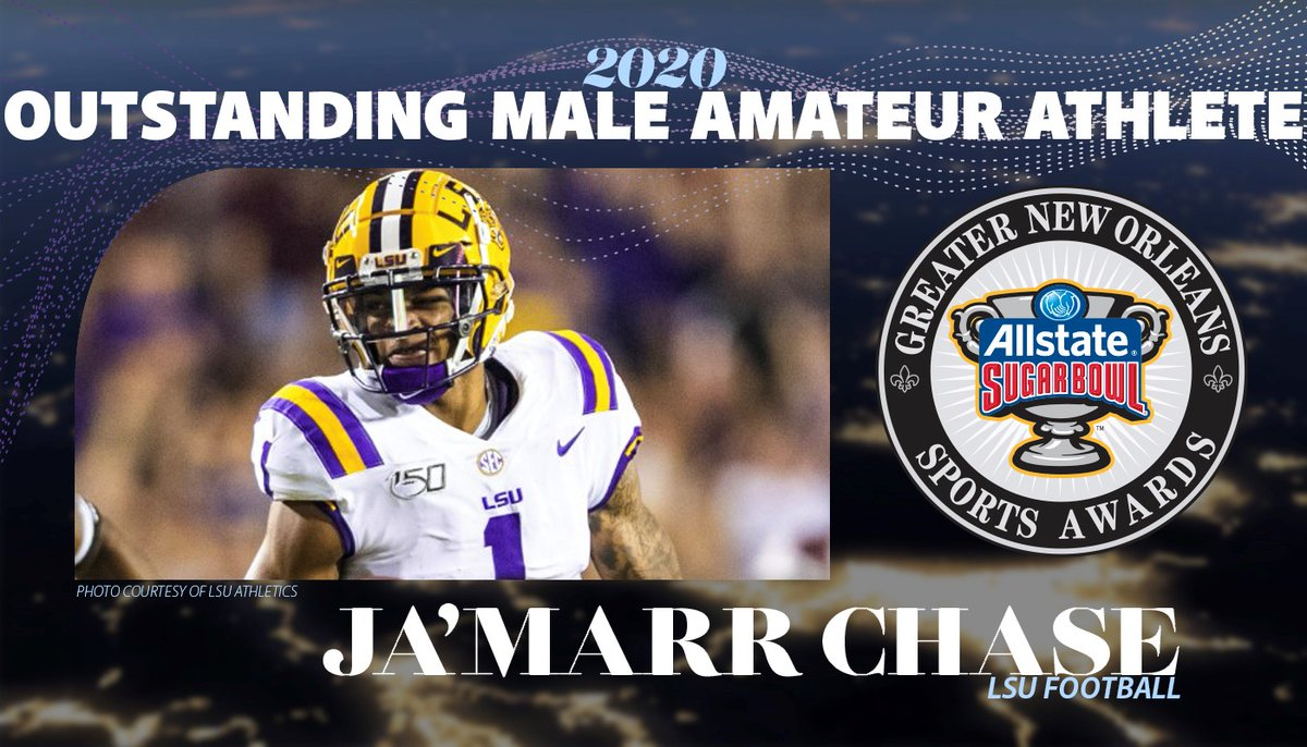 CONGRATS! As a soph. for the undefeated @LSUfootball, JaMarr Chase had a record-breaking 2019, setting the school record for single-season TD receptions with a national-best 20, shattering the previous record of 12 and also setting the SEC record. allstatesugarbowl.org/jamarr-chase-2…