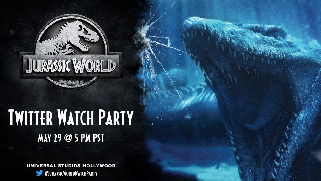 Join us May 29th at 5pm PST/8pm EST as we #UniversalAtHome by watching @JurassicWorld! Tweet along with us using #JurassicWorldWatchParty. Get your digital copy of the film at bit.ly/USHofferJW.
