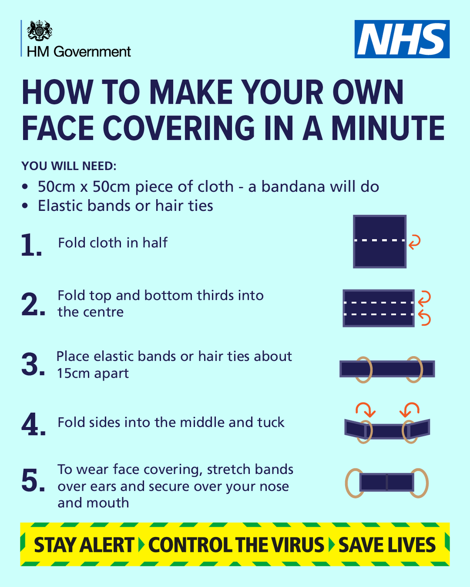 😷 | A face covering may help to prevent the spread of coronavirus if you have the infection, but arent showing symptoms - but please dont buy medical grade face masks - these are needed on the frontline! Heres how you can make your own ⬇️