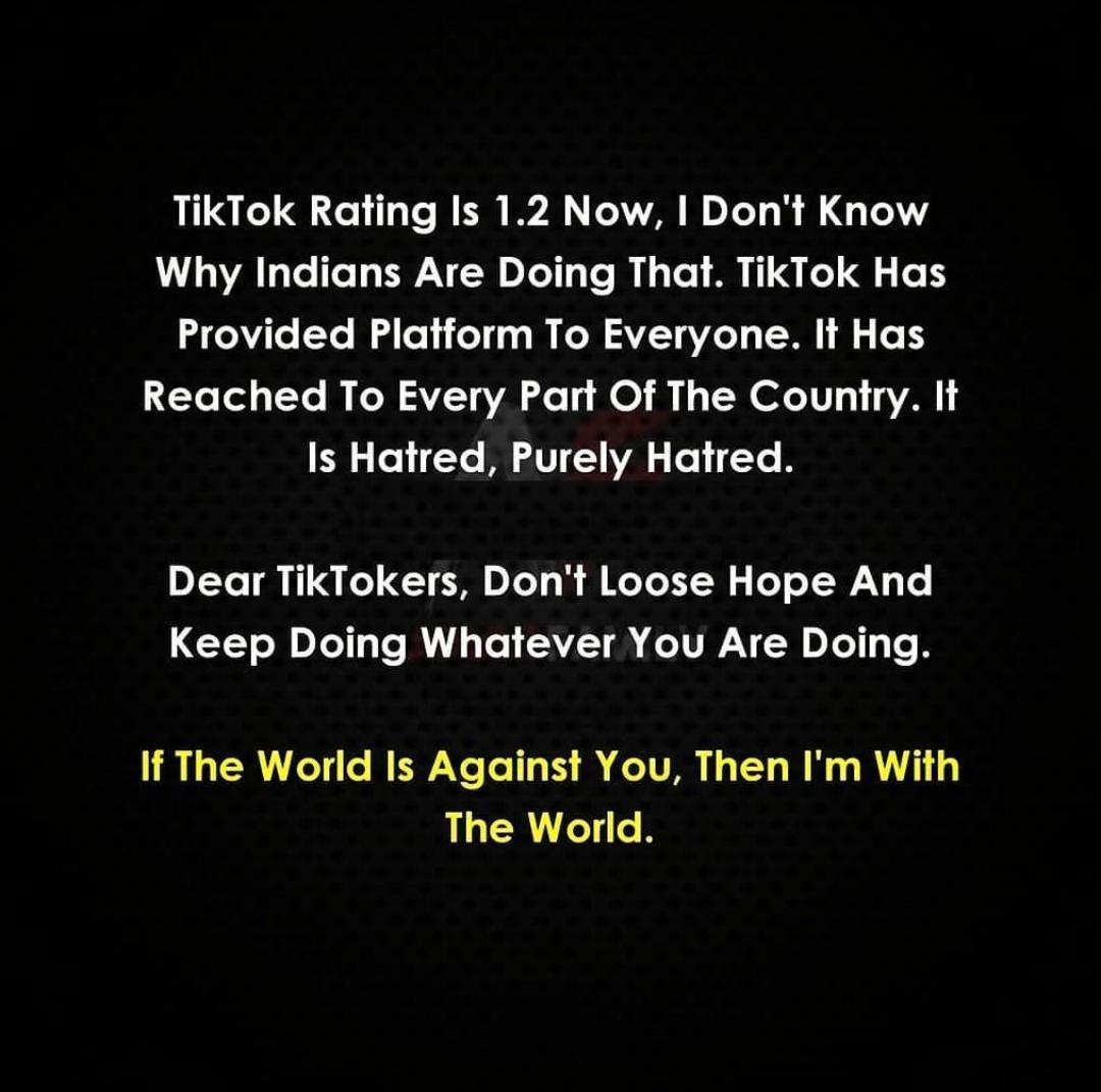 I'm with world #BanTikTokIn<br>http://pic.twitter.com/OYYF0IoO95