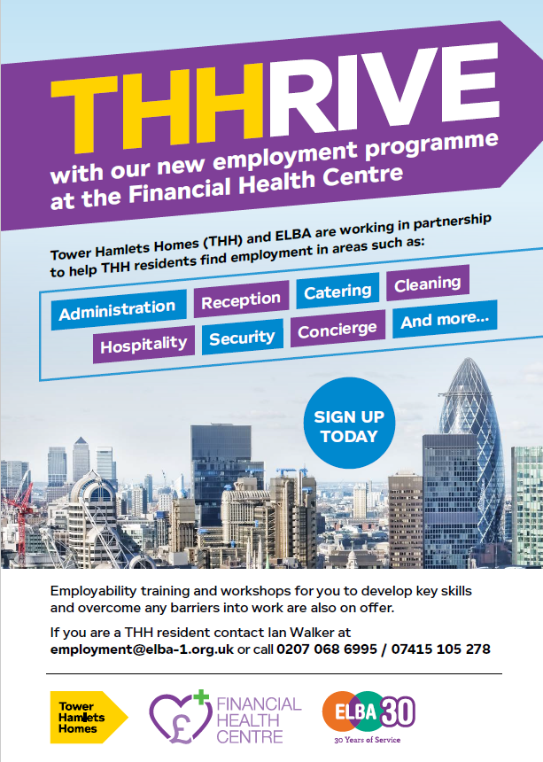 Our colleagues at @OurELBA are working in partnership with @THHomes on the THHRIVE programme to help their residents improve their employment skills & opportunities! More info: ian.walker@elba-1.org.uk or call 0207 068 6995 #employment #TowerHamletsHomes #skills #training