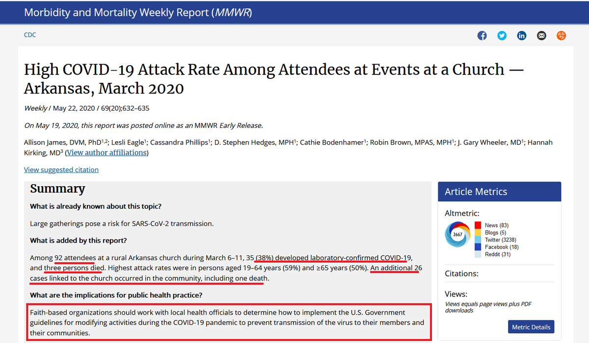 """As Trump demands churches open """"right now"""" ...  THREE HOURS AGO, the CDC put this study on its website: At an AK church service there were:  - 92 attendees. - 35% of them contracted #COVID19  - 3 attendees died.   Another death and 26 more infections were linked to that service."""