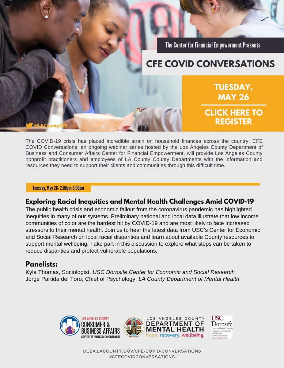Today at 2pm! Join the conversation with @USCDornsife and @LACDMH to hear the latest data on local racial disparities & learn about available resources to support mental well-being. Register now at  #CFECovidConversations #MentalHealth #SocialJustice https://t.co/5sK3tGh6qZ