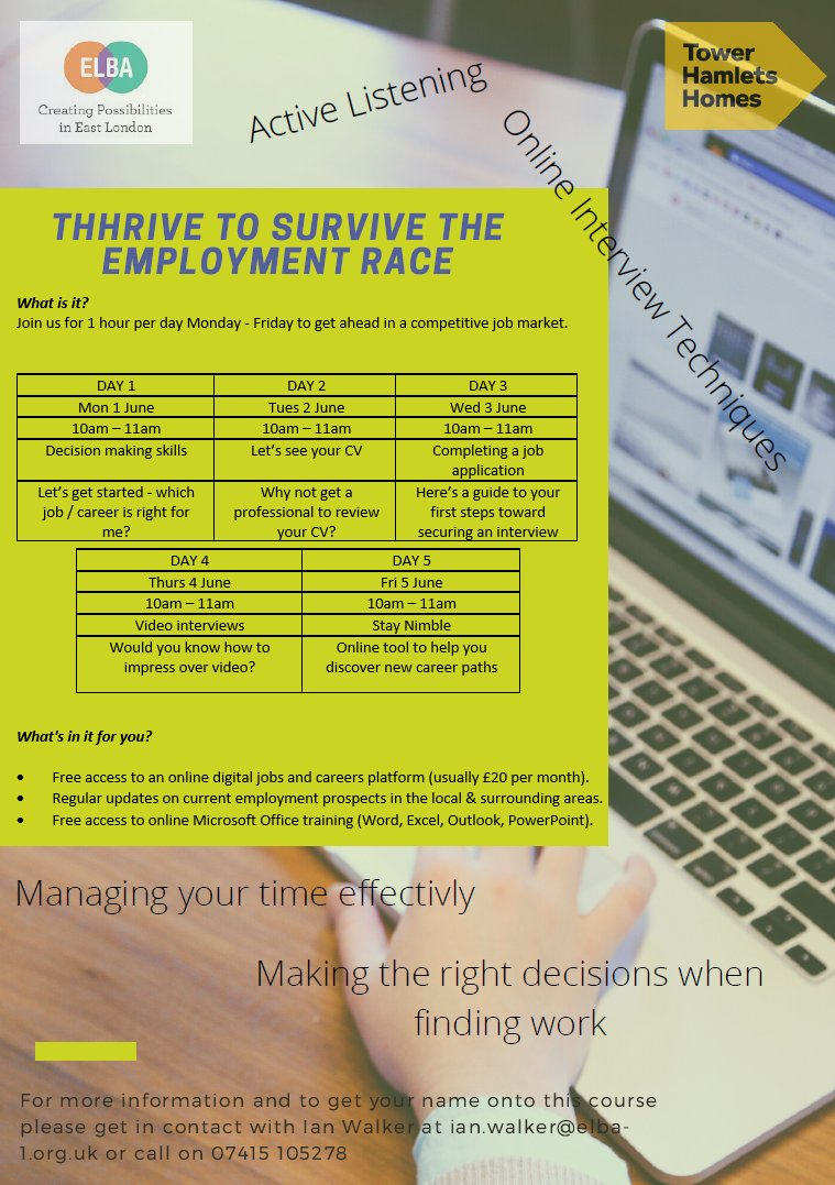 THHrive to Survive the Employment Race! @OurELBA & @THHomes present a FREE 5-day online #employment skills training workshop! 10-11am every day, starting Mon 1st June! Contact: ian.walker@elba-1.org.uk / 07415 105278 #careers #training #skills #online #digital #interview #CV