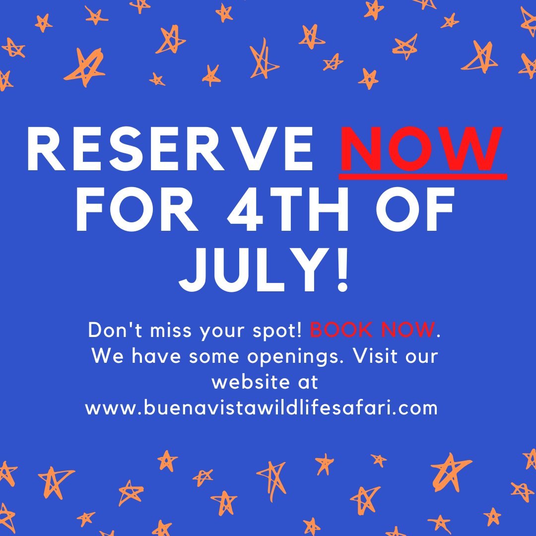 Don't miss out on July 4th spots! Our books are NOW open to reserve your spot for July 4th. Visit our website at  OR download the CampersApp!   #camping #4thofJuly #BuenaVista #Adventure #Fireworks #Reservations #Safari #OneStopShop