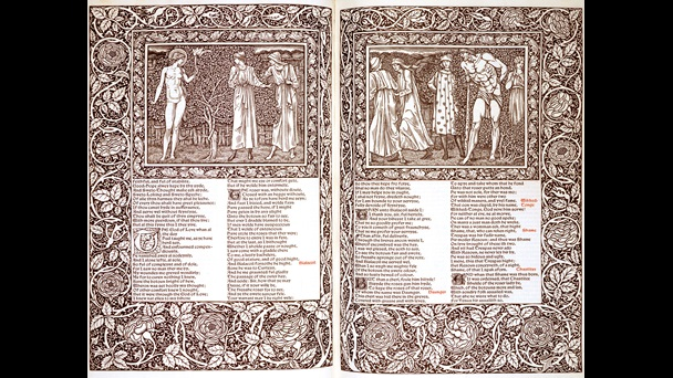 Isn't this divine? The Kelmscott Chaucer is looked after by our friends @BLprintheritage (do give them a follow). It was published by William Morris in 1896, with illustrations designed by Edward Burne-Jones, who described it as 'like a pocket cathedral'.