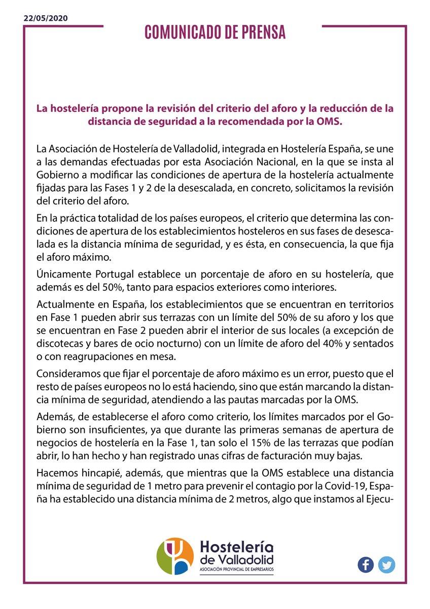 La hostelería propone la revisión del criterio del aforo y la reducción de la distancia de seguridad a la recomendada por la OMSDoble signo de exclamación