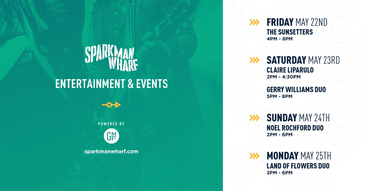 .@sparkmanwharf is open again and live music has returned to the Wharf. Enjoy 🎶 all #MemorialDay weekend!  Visit https://t.co/DwPCQkEStO for a list of the safety/social distancing measures in place. https://t.co/PmS2zXzdH7