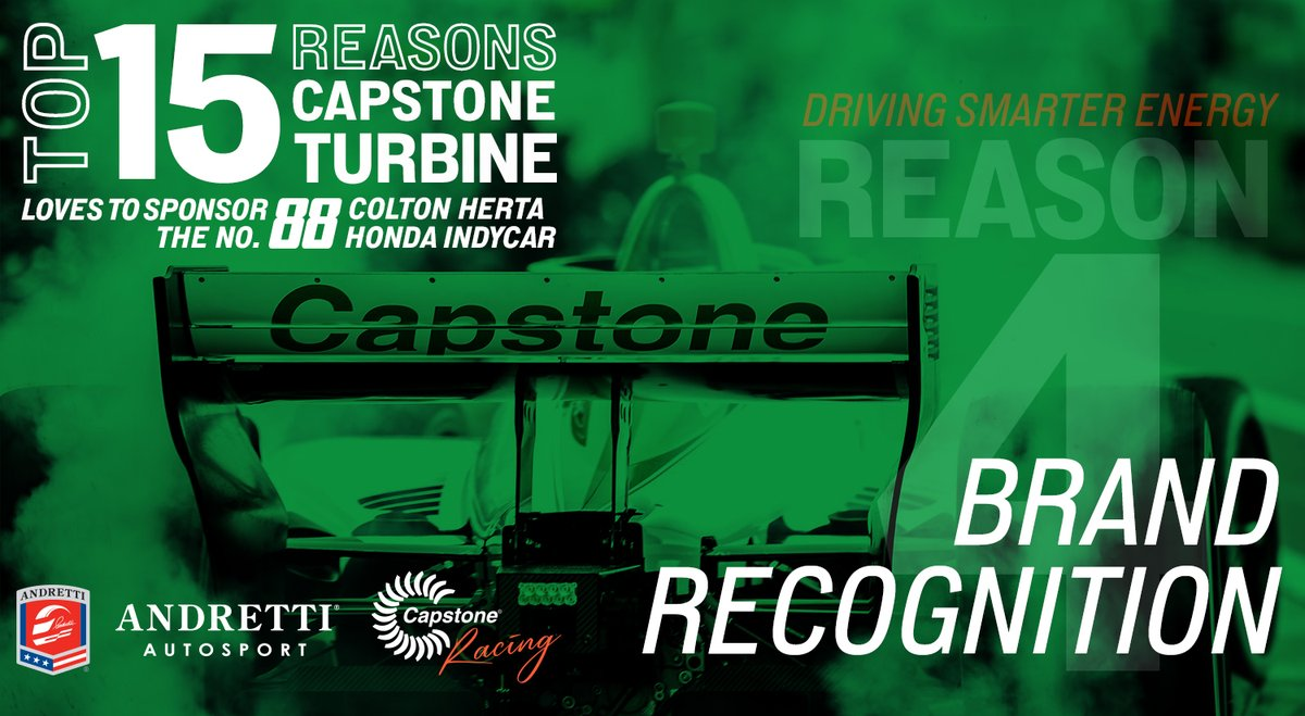 """✅Reason #4 @CapstoneTurbine 💚s to support @ColtonHerta in the #88 #INDYCAR🏁 A @McKinsey survey of 700+ execs w/influence on supplier selection showed businesses consider the brand to be a """"central driver"""" in capital purchase decisions. #BrandRecognition #DrivingSmarterEnergy"""