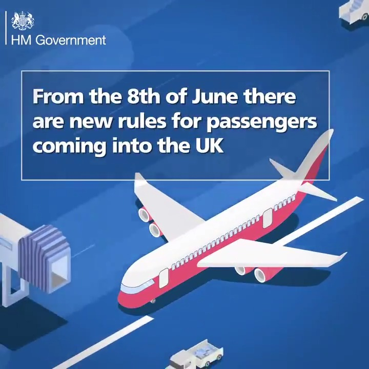 New rules for passengers coming into the UK are due to start on 8 June. Travellers will need to share contact details, travel information, and self-isolate for 14 days or they may incur a fine. Read more: gov.uk/uk-border-cont…