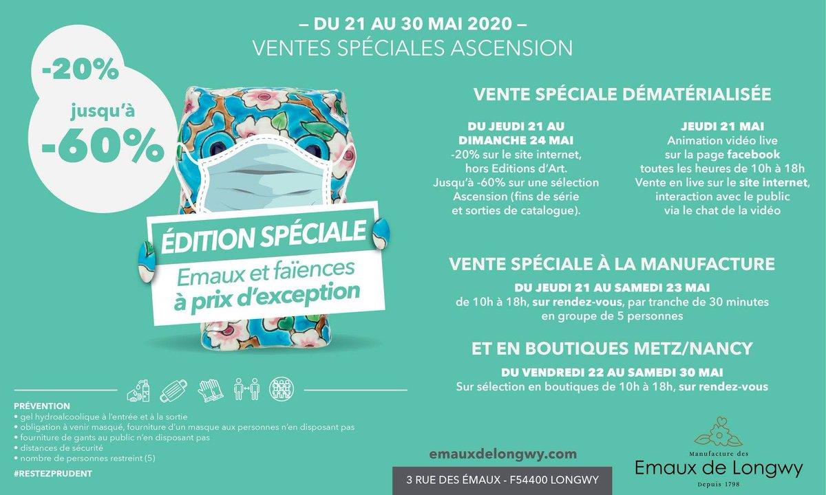 Fin de la 2ème journée de cette édition spéciale vente de #Ascension2020 #Deconfinement à #Longwy #Metz #Nancy, la vente en ligne continue avec la sélection Ascension jusqu'à 60% de remise. Rendez-vous demain à la Manufacture de 10h à 18h par groupe de 5, créneau de 30mnpic.twitter.com/Ia6WznMz7B