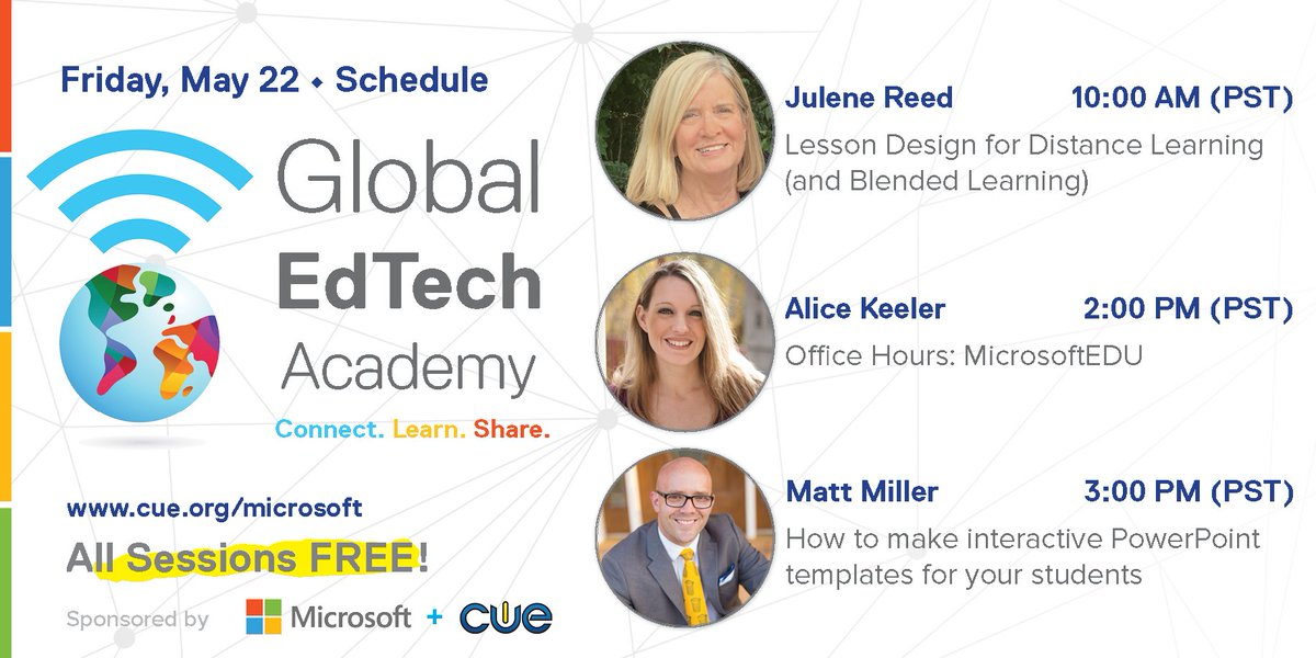 Join us today for our Global EdTech Academy sessions! #GETA #MicrosoftEDU #WeAreCUE