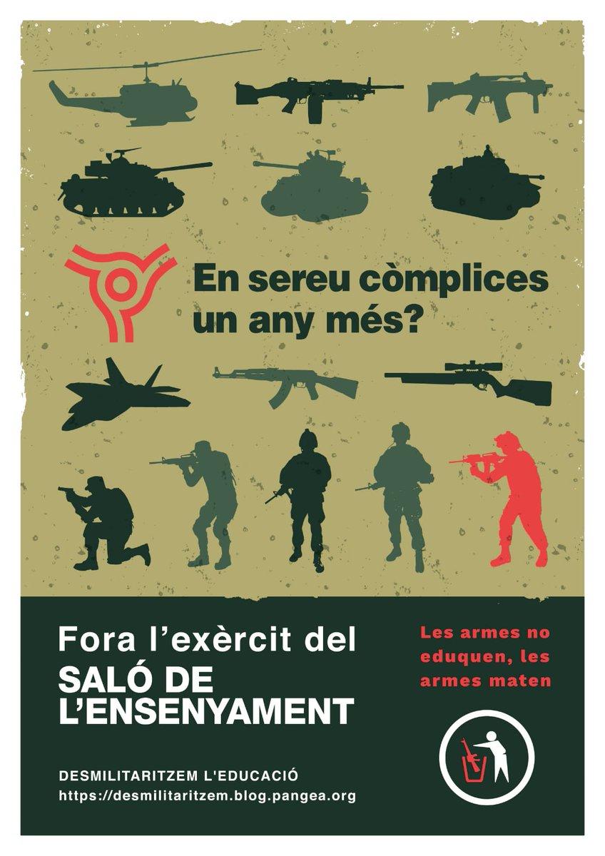Fora l'exèrcit del Saló de l'Ensenyament de Barcelona - Fira Campus Virtual. #LesArmesNoEduquen #LesArmesNoCure les armes maten @AdaColau @JosepBargallo @angelschacon ens sou còmplices un any més @Defensagob @DiariEducacio https://t.co/0Z6lzpgasw