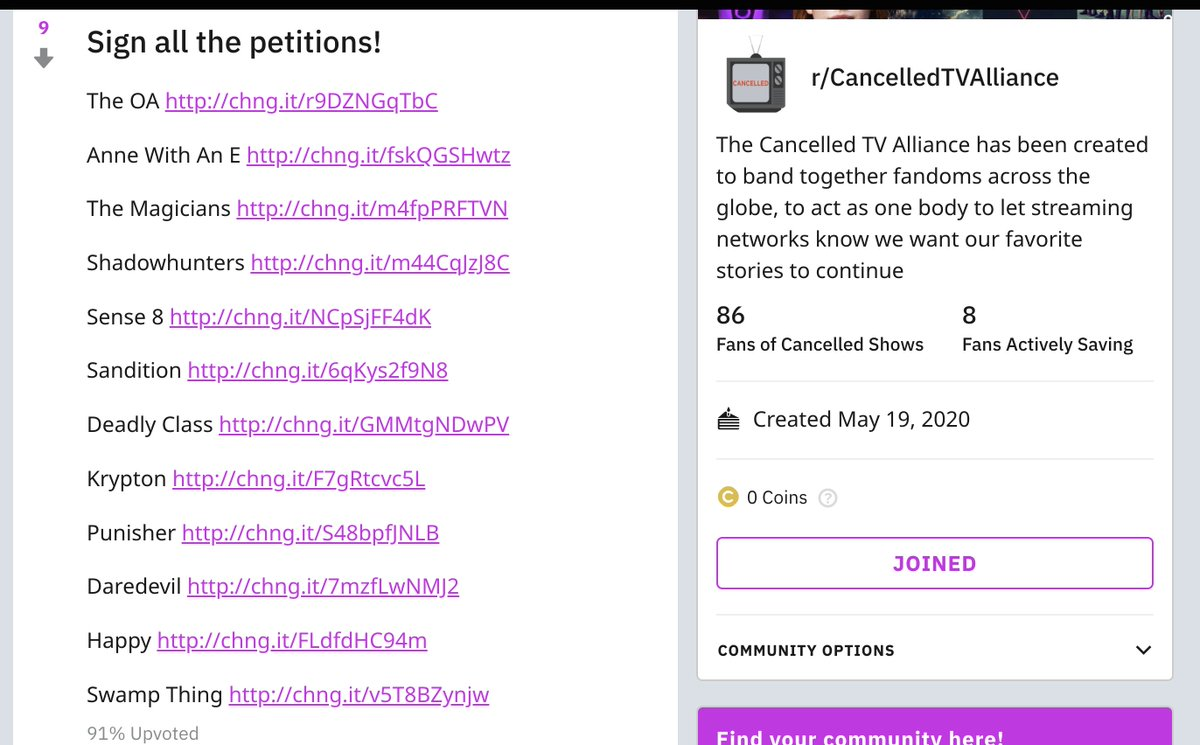 All the petitions have been added in one spot here- support other fandoms by signing them all  https://www. reddit.com/r/CancelledTVA lliance/  …  #SAveTheOA #SaveTheMAgicians #renewannewithane #RenewSense8 #SaveShadowhunters #SaveDaredevil #SaveKrypton #SaveHappy #SaveSwampthing #SavePunisher<br>http://pic.twitter.com/5ZfA3nfBND