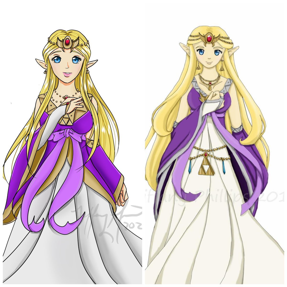 The finished product! I changed some designs and color choices for personal preference. Overall I am happy with the outcome! #redraw #10yearchallenge #PrincessZelda #LegendOfZelda #fanart #originaldesignpic.twitter.com/KXizNKBcXd