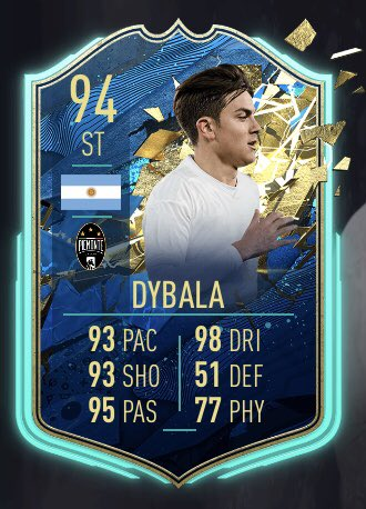 Paulo Dybala's FIRST 4* weak foot card in FUT history   EA boosted every important shooting stat to 90, agility to 99, acceleration above 95  As long as he doesn't get pushed off the ball too easy...he's gonna be a monster in game   #ForzaJuve pic.twitter.com/REj3nWjAkb
