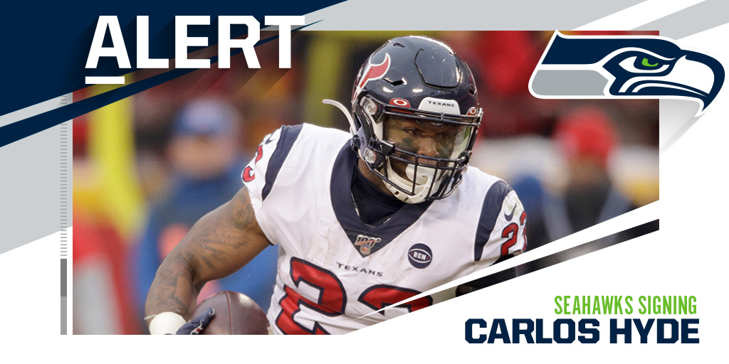 Seahawks signing RB Carlos Hyde to a one-year deal. (via @TomPelissero and @RapSheet)<br>http://pic.twitter.com/ozo4ul3yQb
