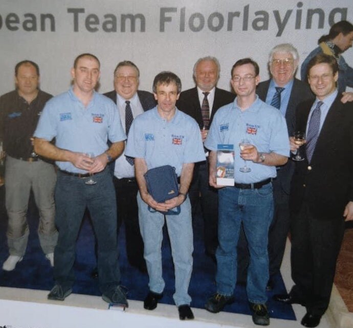 The 2005 UK winning team at the European floorlaying competition in Hanover Germany with Mike Whale Nigel Tucker and Rick Hynard @thenicf