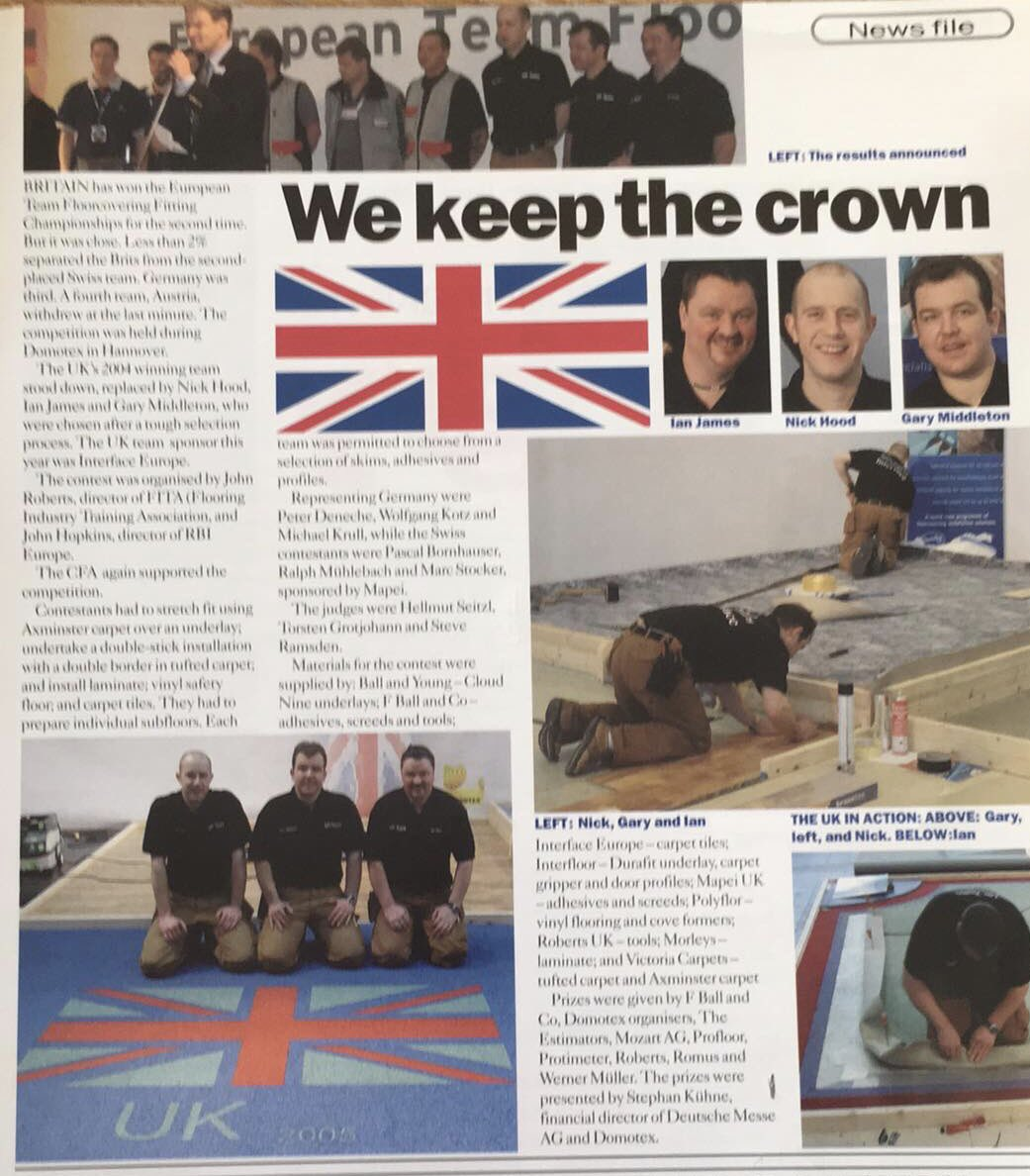 The 2004 UK winning team at the European floorlaying competition in Hanover Germany with Ian James, Mike whale and Garry Middleton @thenicf @CrescentCarpets