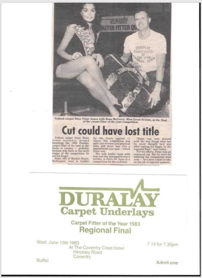 Last years carpet fitter of the year winner Dan Jones farther Peter Jones 1983 carpet fitter of the year Regional winner and finalist @thenicf