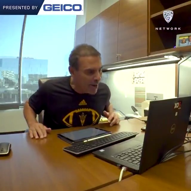 Lookin good, Coach! 😂 @HermEdwards told his student-athletes that he wont get a haircut til theyre back in the building. 💈 Get an inside look at @ASUFootball s team meetings ➡️ pac12.me/ASU-IP12FB