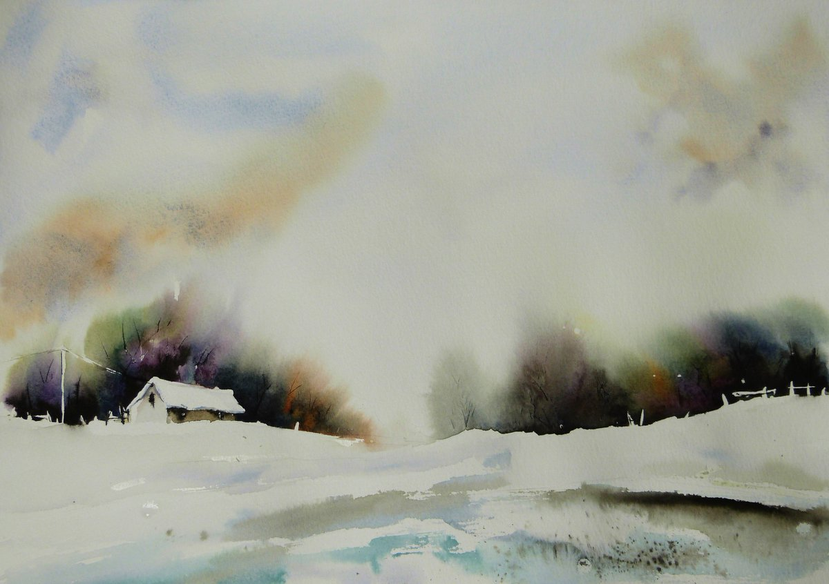 Walk, watercolour. Have a nice weekend everyone. #Watercolour #artworks #painting #winterpic.twitter.com/2DgWfCisvS