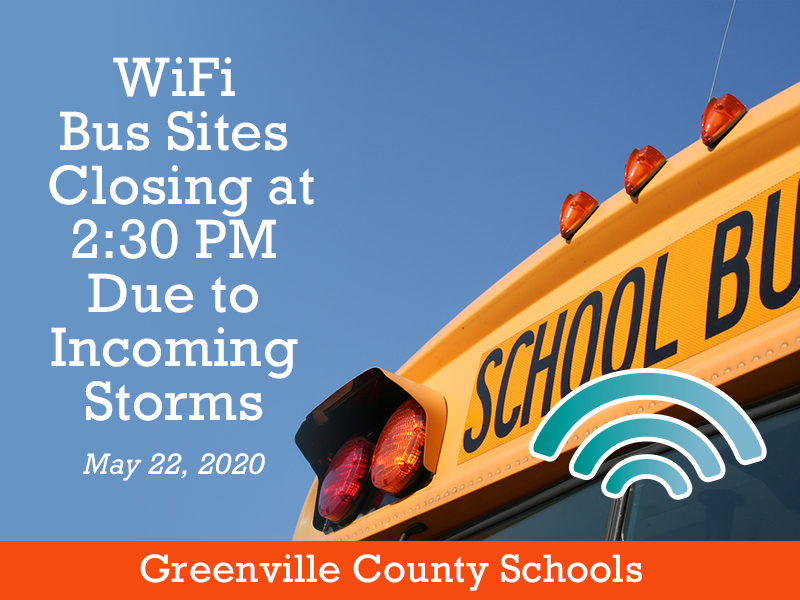We are closing our WiFi bus sites at 2:30 PM today due to incoming storms.